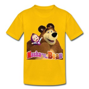 Retail-Hot-In-Russia-And-Ukraine-Masha-and-Bear-Summer-Children-T-Shirt-Boy-And-Girl